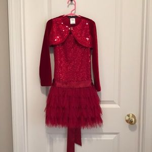 NWOT Biscotti Red Sequin Dress with Shrug